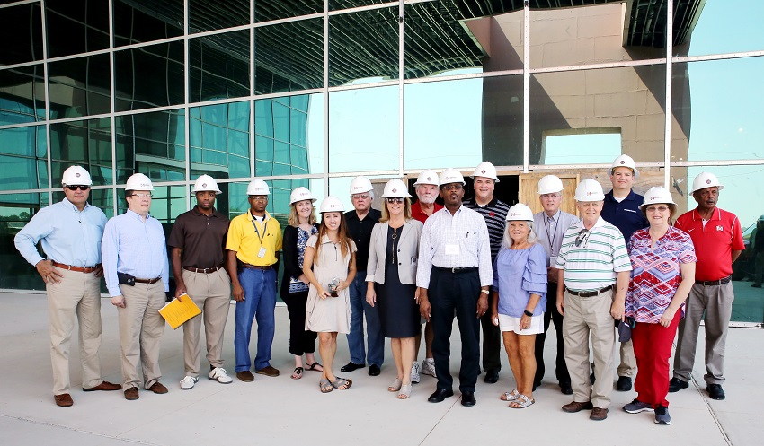 On July 13, officials from the Mississippi House and Senate, the Mississippi Department of Finance and Administration and the Bureau of Building, Grounds and Real Property Management toured East Mississippi Community College's Center for Manufacturing Technology Excellence 2.0, which is under construction.