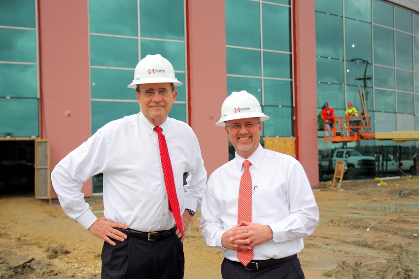 "Mississippi Secretary of State Delbert Hosemann, at left, toured East Mississippi Community College's ""Communiversity"" near the Golden Triangle campus. EMCC President Dr. Thomas Huebner, at right, conducted the tour. Hosemann was in town to meet with area educators and business leaders."